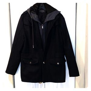 Mens Dark Gray Jacket with Hood by Coogi